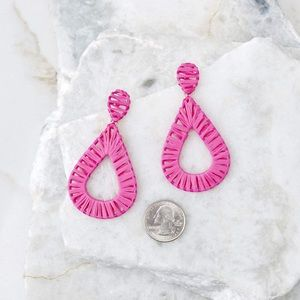 Red Dress Boutique Jewelry - Tear drop hot pink earrings post back PRICE DROP!